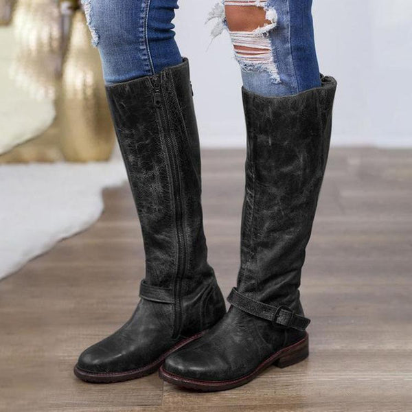 Women Vintage Low Heel Back Zipper Knee-High Boots