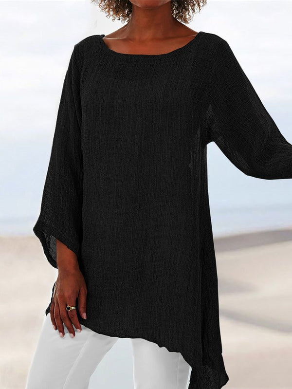 Casual Solid Color Round Neck Crop-Sleeved Asymmetric Hem Blouse