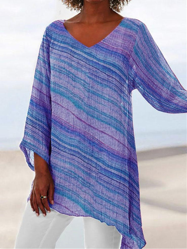 Plus Size Rainbow Stripe Print Crop-Sleeved V Neck Asymmetric Hem Blouse
