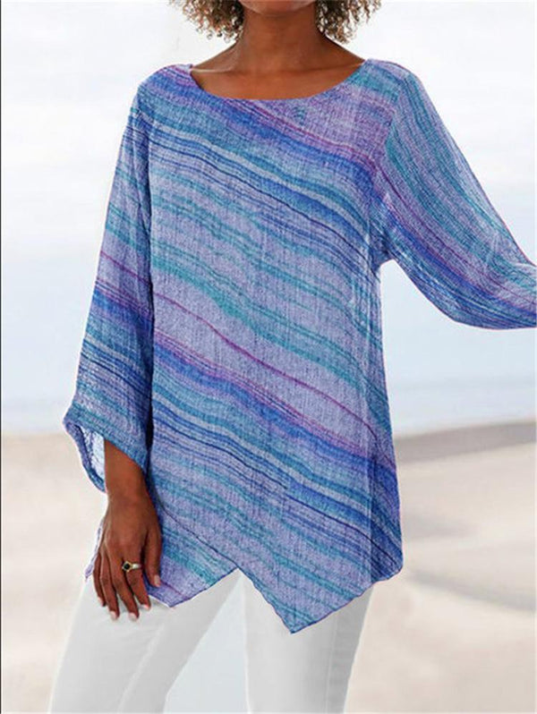 Plus Size Summer Rainbow Stripe Round Neck Crop-Sleeved Asymmetric Hem Blouse