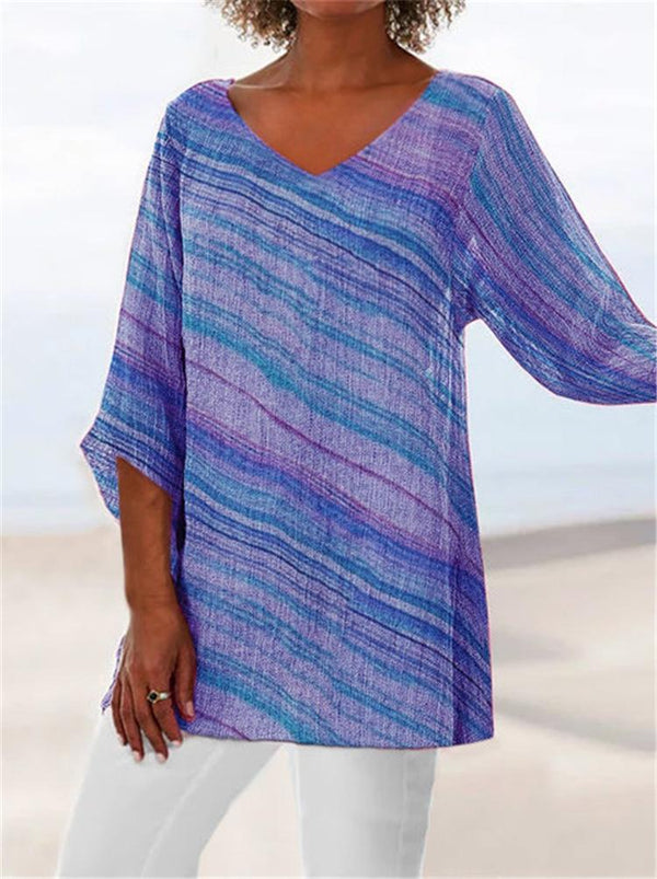 Plus Size Summer Colorful Stripe V Neck 3/4 Sleeve Blouse