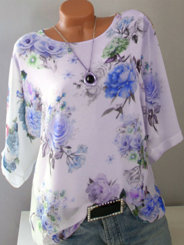 Floral Print Plus Size Loose Half Sleeve Round Neck T-Shirt
