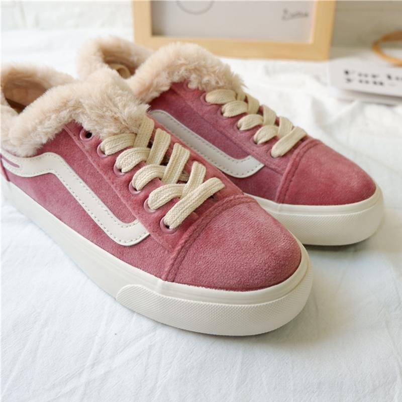 Purple Womens Lace-Up Artificial Suede Daily Snow Sneakers