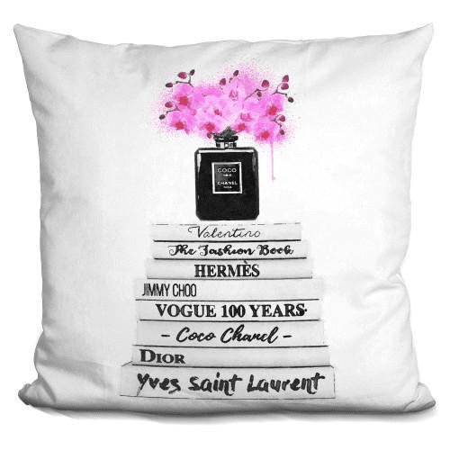 Book Stack White Pink Orchids Pillow-Product-BestEver4U