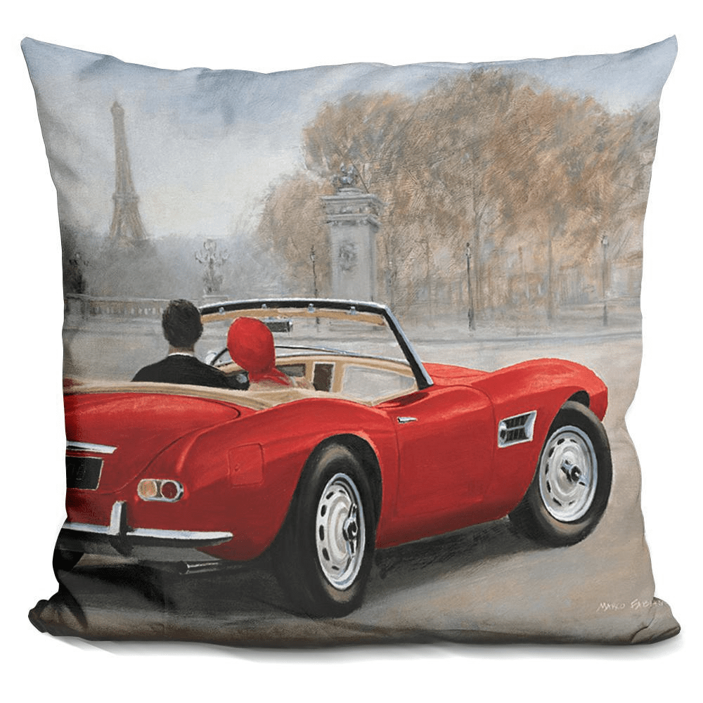 A Ride In Paris Red Car Pillow-Product-BestEver4U