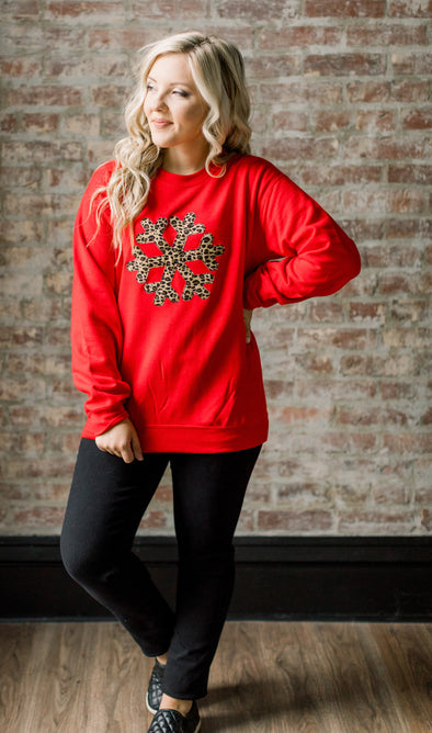 Cheetah Applique Snowflake Sweatshirt