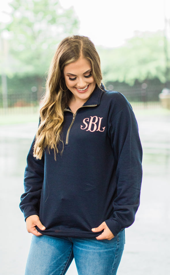 Fishtail Monogram Quarter Zip Pullover