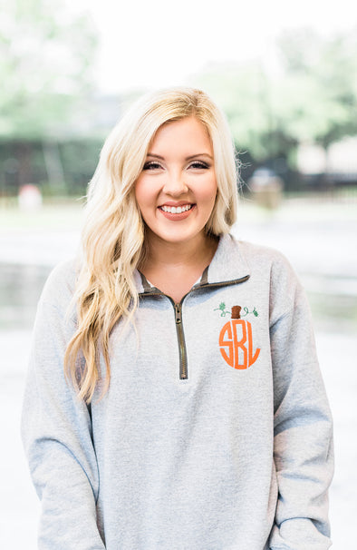 Pumpkin Monogram Quarter Zip Pullover