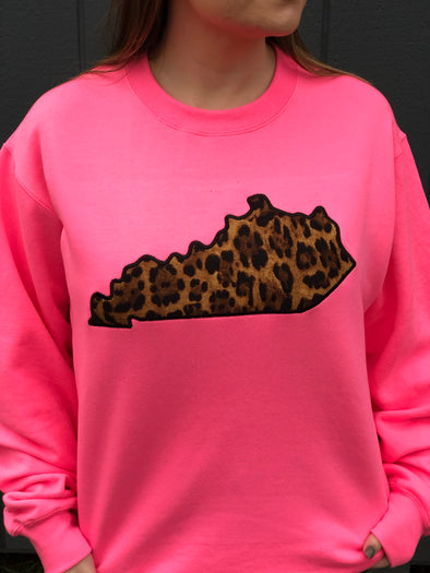 Satin State Cheetah Applique Safety Pink Sweatshirt