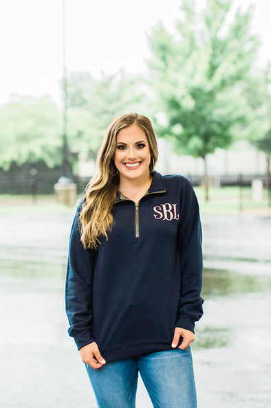 Monogram Quarter Zip Pullover