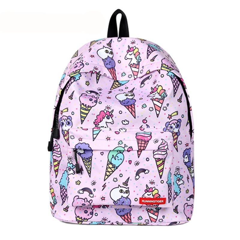 Ice Cream Unicorn Canvas Bookbags f86bae3b2e91c