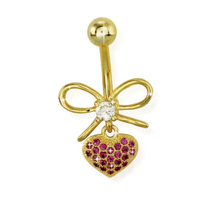 TBSH150 BANANA WITH HEART DESIGN 1.6 * 10 COLOR GOLD/CRYSTAL GOLD/ROSE/CRYSTAL   GOLD/SAPPHIRE/CRYSTAL