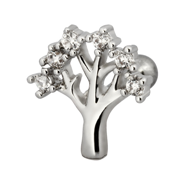 TRTH112 HELIX WITH TREE DESIGN 1.2*6*3 COLOR RHODIUM/CRYSTAL