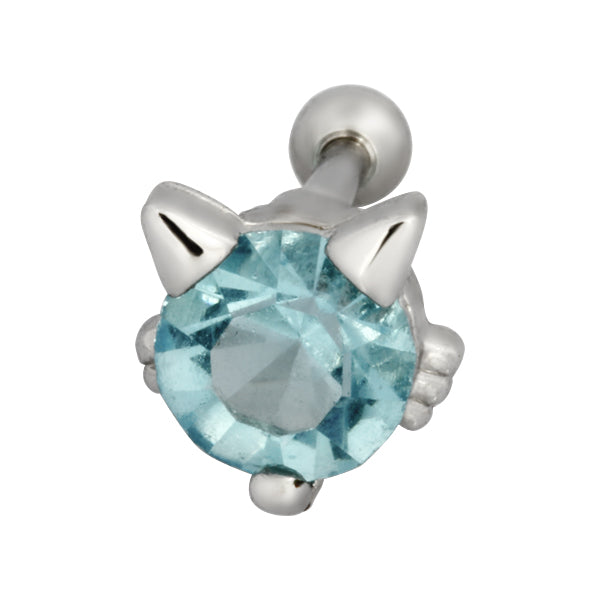 TRTH116 HELIX WITH CAT DESIGN 1.2*6*3 COLOR Rhodium/Aqua