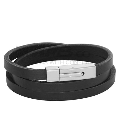BSS462 STAINLESS STEEL LEATHER BRACELET
