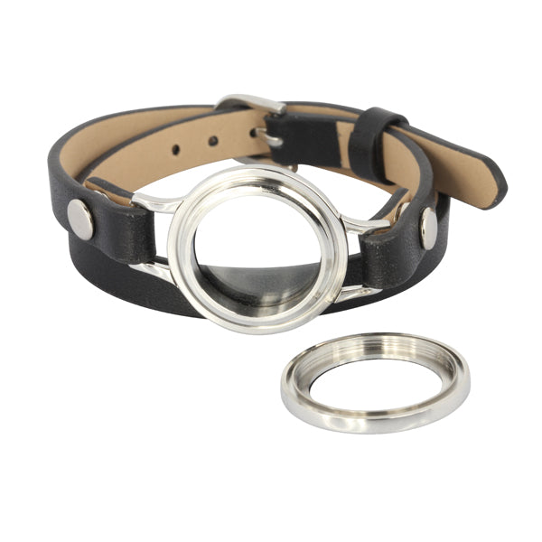 BSS491 STAINLESS STEEL LEATHER BRACELET