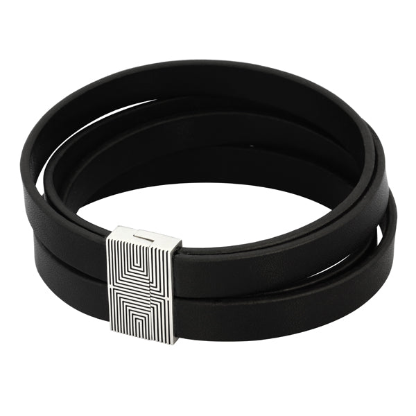 BSS546 STAINLESS STEEL LEATHER BRACELET