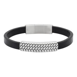 BSS555 STAINLESS STEEL BRACELET+LEATHER