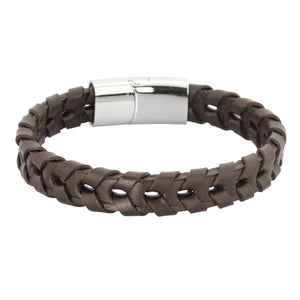 BSS560 STAINLESS STEEL  LEATHER BRACELET