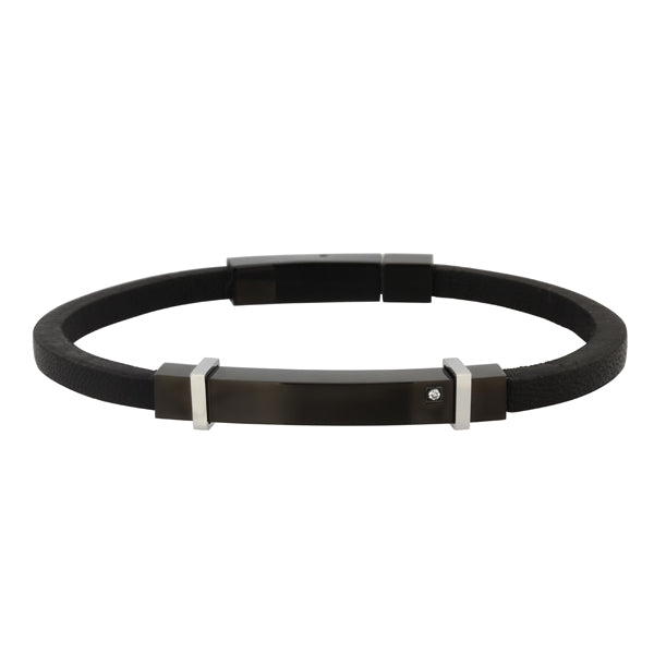 BSS588 STAINLESS STEEL  LEATHER  BRACELET