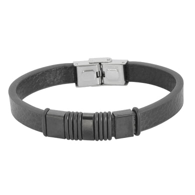 BSS614 STAINLESS STEEL LEATHER BRACELET