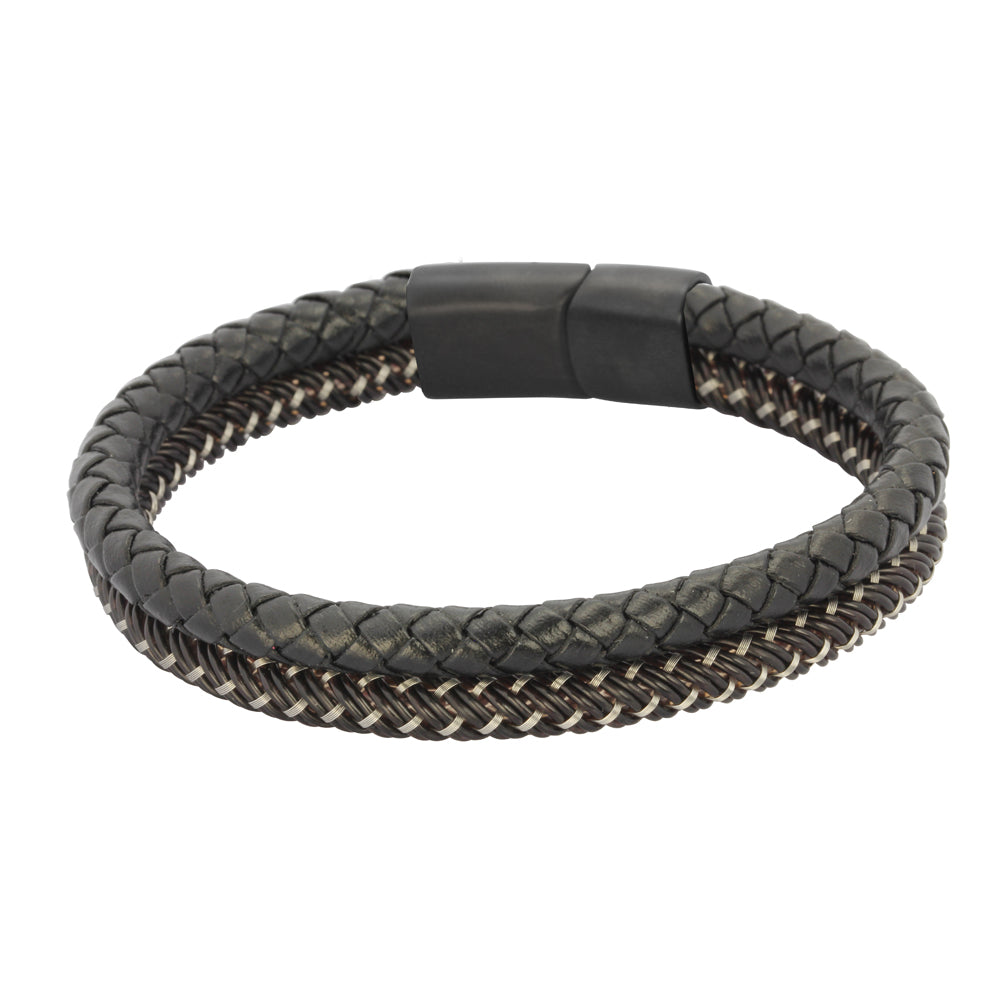 BSS637 STAINLESS STEEL LEATHER PLASTIC BRACELET