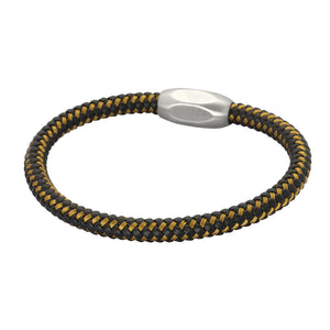 BSS652 STAINLESS STEEL LEATHER BRACELET