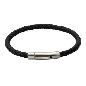 BSS755 STAINLESS STEEL LEATHER BRACELET