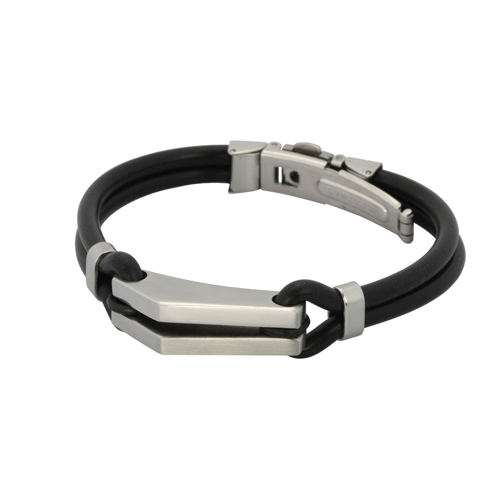 BSS787 STAINLESS STEEL SILICON BRACELET