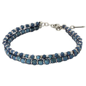 MBSS03 HEMATITE BRACELET WITH S.S CLOSURE