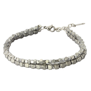 MBSS03 HEMATITE BRACELET WITH STAINLESS STEEL CLOSURE