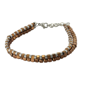 MBSS04 HEMATITE BRACELET WITH STAINLESS STEEL CLOSURE