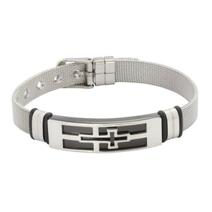 MBSS06 S.S BRACELET WITH CROSS DESIGN