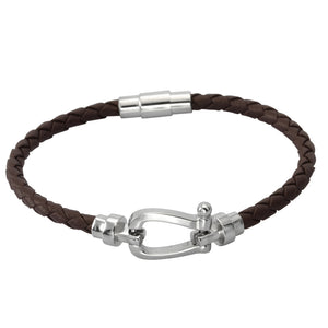 MBSS11 LEATHER BRACELET WITH STAINLESS STEEL CLOSURE