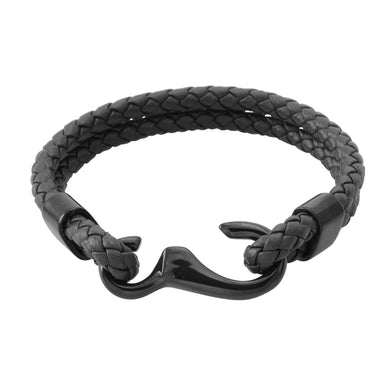 MBSS12 LEATHER BRACELET WITH S.S CLOSURE