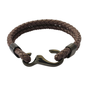 MBSS12 LEATHER BRACELET WITH STAINLESS STEEL CLOSURE