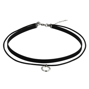 NSS524 STAINLESS STEEL LEATHER NECKLACE