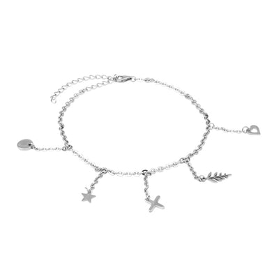 BAF04 ANKLET CHAIN WITH CHARM  300 COLOR STEEL