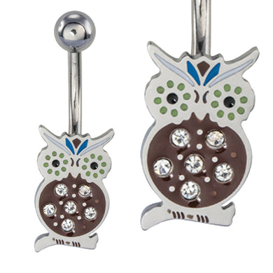 BBAN01 BELLY WITH OWL DESIGN 1.6 * 10 COLOR CRYSTAL/MIX COLOR