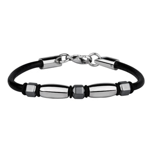 BSS192 STAINLESS STEEL BRACELET WITH HEMATITE
