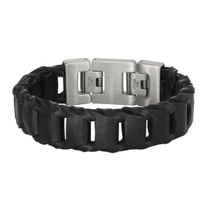 BSS439 STAINLESS STEEL LEATHER BRACELET
