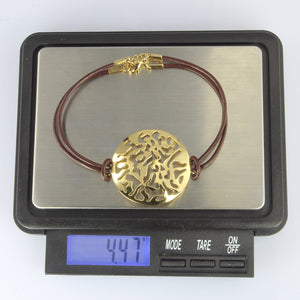 BSS492 STAINLESS STEEL LEATHER BRACELET