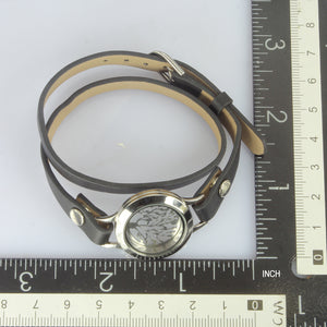 BSS496 STAINLESS STEEL LEATHER BRACELET