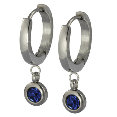ESS651 STAINLESS STEEL EARRING WITH FOIL STONE