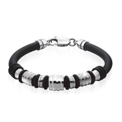 EXBR55 STAINLESS STEEL BEADS GENTLEMEN SILICON BRACELET