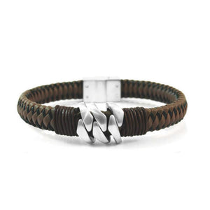 INBR121B STAINLESS STEEL BRACELET W LEATHER