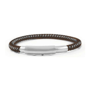 INBR122B STAINLESS STEEL BRACELET W LEATHER