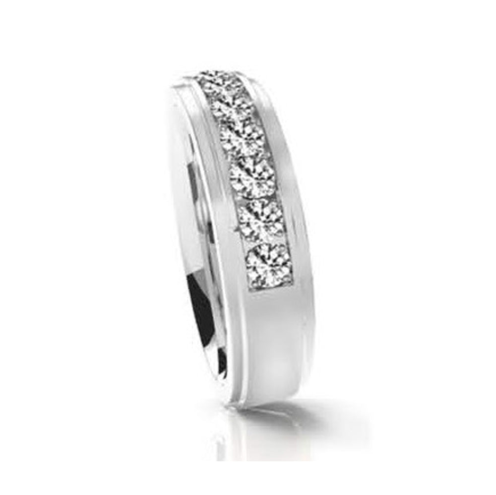 INR145A STAINLESS STEEL RING W WHITE CZ