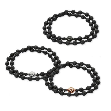 BSS671 STAINLESS STEEL GLASS STONE BRACELET