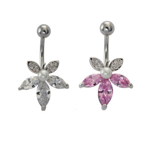 TBFL76 BANANA WITH FLOWER DESIGN 1.6 * 10 * 5 COLOR RHODIUM/CRYSTAL/PINK/WHITE    RHODIUM/CRYSTAL/WHITE
